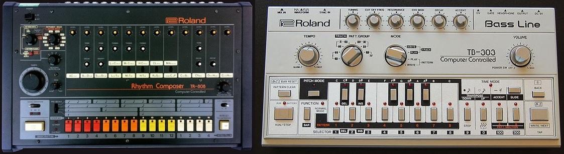 Roland TR-808 och TB-303.